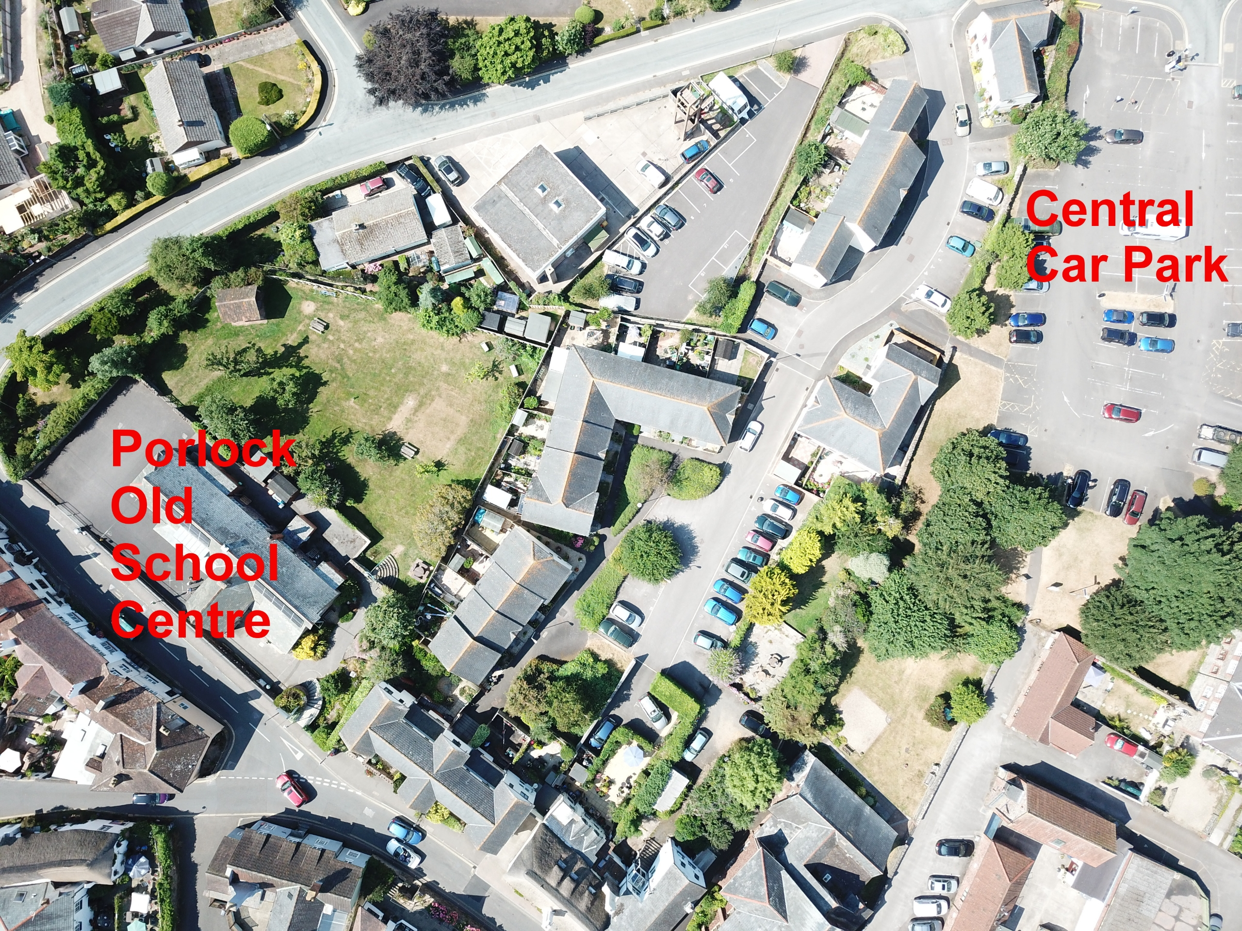 Overhead view of site and car park location